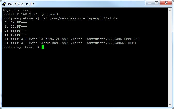 SSH window for disabling HDMI cape on BeagleBone Black
