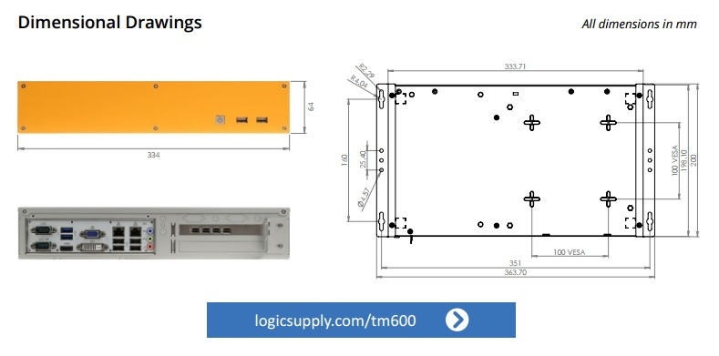Logic Supply TM600 Control Room Computer Dimensions