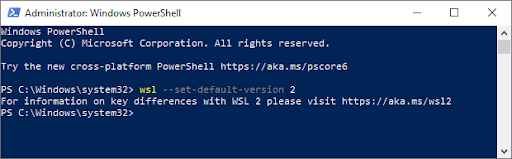 Screenshot of powershell window while setting WSL 2 as default version