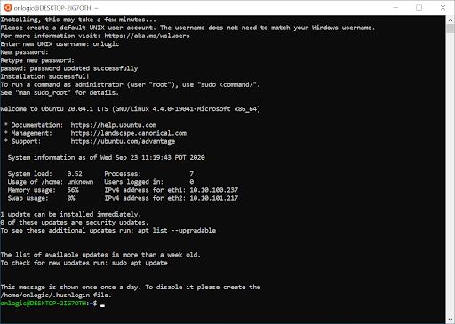 Screen shot showing bash command line
