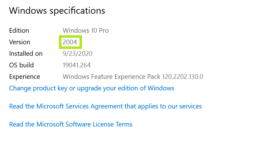 Windows specification box used to determine version of Windows 10