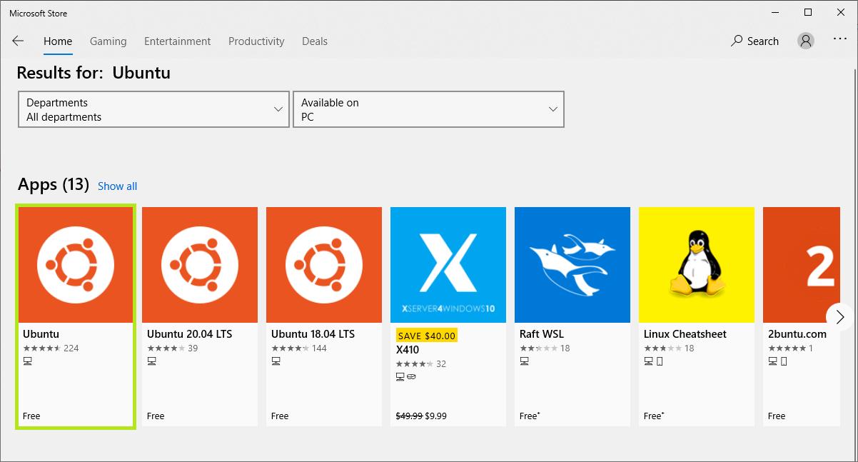 Windows store Ubuntu