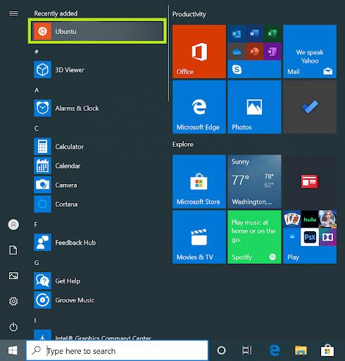Screen shot showing how you launch Ubuntu from Windows
