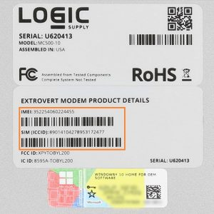 Logic Supply Extrovert 4G LTE System Label