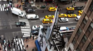 Overhead photo showing traffic