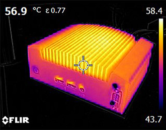 picture showing temperature testing of an OnLogic fanless computer