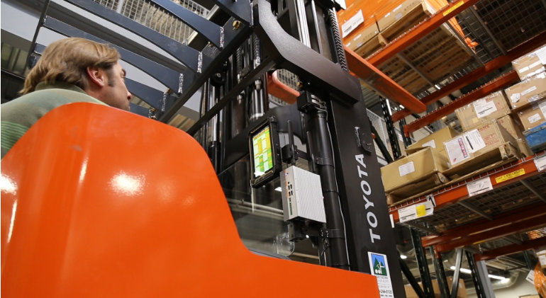industrial Computer mounted on a forklift