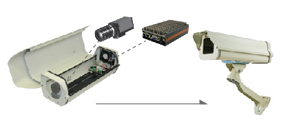 Fanless surveillance computer mounted inside camera